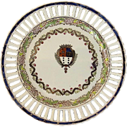 Reticulated Plate with Coat of Arms and Grape Vine Motif