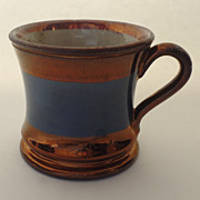 English 19th Century Copper Luster Small Mug Cup with Blue Band
