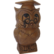 Vintage Graduation Wearing Glasses Owl Twin Winton California Pottery