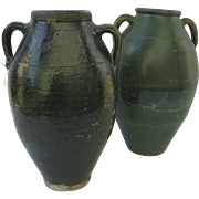 SOLD Two Very Similar Large Green Glazed Pottery Jar Urn Side Handles