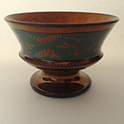 English Copper Luster Footed Bowl Tazza Green Decoration