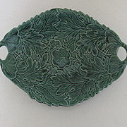 English Majolica Leaf Shaped Serving Plate with Two Handles
