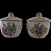 2 x Vintage French France Pot de Creme Faience Pots with Lids Fruit Finials Luneville
