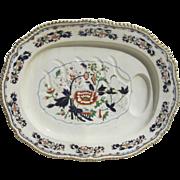Large Monumental English Stoneware Platter with Gravy Reserve Imari Color Gilt Edge Grainger,