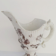 French Faience Helmet Footed Pitcher