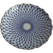 Vintage Lomonosov Russian Russia Cake Plate Cobalt Blue 22K Gold Russia Net 8 1/2 ...