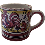 Vintage Deruta Rooster Majolica Faience Italy Italian Mug Cup Red