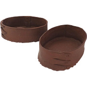 Pair of Handmade Pottery Bowls Planters in the Shape of Shaker Three Finger Lap Box
