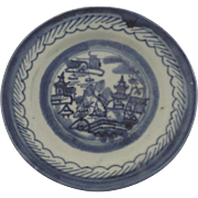 """Small Canton Blue and White Plate 5 3/4"""" 19th Century"""