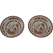 "2 x Vintage Spode India Indian Tree Rust Fruit Bowls 6.25"" Older Mark"