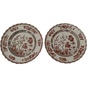 "2 x Vintage Spode India Indian Tree Rust 7.5"" Salad Dessert"