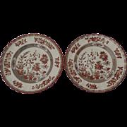 "2 x Vintage Spode India Indian Tree Rust 7.5"" Salad Dessert"