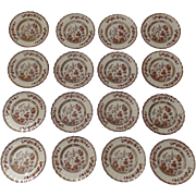 """15 x Vintage Spode India Indian Tree Rust 6 3/8"""" Plates Older Mark Bread Butter"""