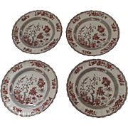 """4 x Vintage Spode India Indian Tree Rust Plates 8 7/8"""" Luncheon"""