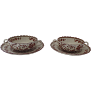 2 x Vintage Spode India Indian Tree Rust Cream soup Bouillon and Saucer Two Handles Older Mark