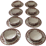 8 x Vintage Spode India Indian Tree Rust Cream Bouillon Soups and Saucers Two Handles Older Ma