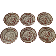 6 x Vintage Spode India Indian Tree Rust Older Backstamp Fruit Bowls