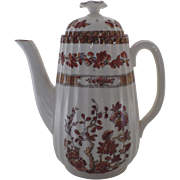 """Vintage Small Individual 6 1/2"""" Coffee Pot Spode India Indian Tree Rust Older Mark"""