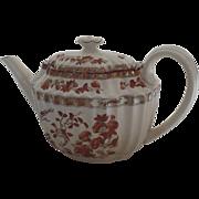 Vintage Older Backstamp Spode India Indian Tree Rust Tea Pot