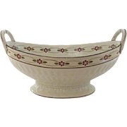 Wedgwood Creamware Queen's Ware Decorated Footed Oval Bowl Side Handles