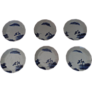 Six 19th Century Japanese Blue and White Porcelain Prunus Decorated Saucer Dishes, Bowls, Plum