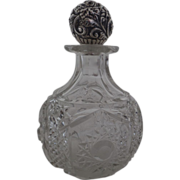 American Brilliant Cut Glass Perfume with Gorham Sterling Repousse Floral Top c.1900