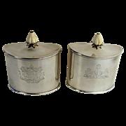 Pair of 18th Century Georgian Sterling Tea Caddies John Schofield