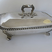 English Sheffield Covered Serving Dish with Hot Water Reserve
