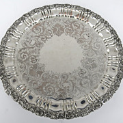 """Large 20"""" diameter Sheffield Silverplated Acanthus Leaf Footed Tray"""