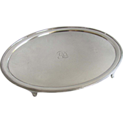 English Early Fused Plate Sheffield Oval Footed Tray Salver