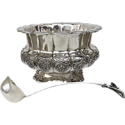 Large German Solid Silver Sterling 925 Handarbeit Footed Punch Bowl and Matching Ladle