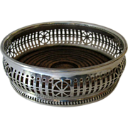 Vintage English Silver Plated Wine Coaster Pierced