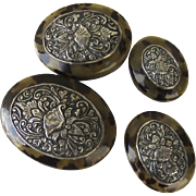 Set of Four Nesting Shell Boxes with Silver Repousse Tops Oval