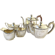Ellis-Barker Silver Plate 5 Piece Tea Set 1920's and Tray