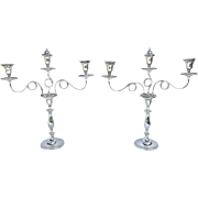 Pair of Old Sheffield Plate 3 Arm Candelabras