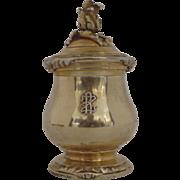 Gustave Keller, Keller Frères (Paris, 1881-1922) Mustard Pepper Pot Grinder Vermeil