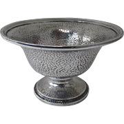 WILCOX & WAGONER - New York Sterling Silver Footed Small Bowl Hammered Planished Finish c 1905