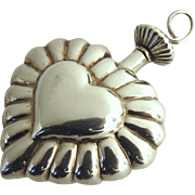 Vintage Sterling 925 Threaded Heart Perfume Pendant
