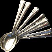 Set of 8 Vintage Gorham Sterling Silver Dinner Spoons in Greenbrier Pattern