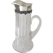 Sterling Silver Mounted Claret Pitcher Cut Glass Body by J. F. Fradley & Co. New York