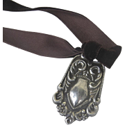 Late 19th Century Early 20th Centurt Sterling Silver 925 Luggage Tag, Charm Toggle