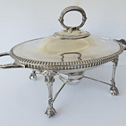 Early 20th Century Serving Dish with Burner Silver Plate Figural