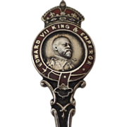 Sterling Silver Enamel Souvenir Spoon Commemorating Edward VII King & Emperor Owen Sound Canad
