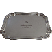 Vintage 1955 Silver Plated Shaped Rectangular Tray Armored Cavalry Regiment Presentation Engra
