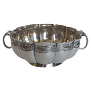 Vintage Silver Mexican Mellow Ribbed Two Handles Bowl  S.1670