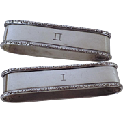 Pair Sterling Silver Rogers, Lunt & Bowlen Co Napkin Rings Roman Numerals No. 1 No. 2