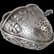 Wonderful German 19th Century Punch Ladle Strawberry Pierced As Is