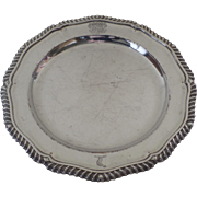 """Old Sheffield Shaped 10"""" Plate with Engraved Armorial Family Crest Gadrooned Edge Creswic"""