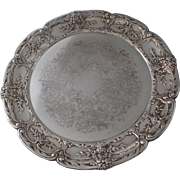 """Vintage Silver Plated Round 14"""" Serving Tray Francis"""