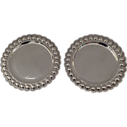 Pair of Sterling Silver 925 Plates by J. Vigueras Mexico Mid 20th Century
